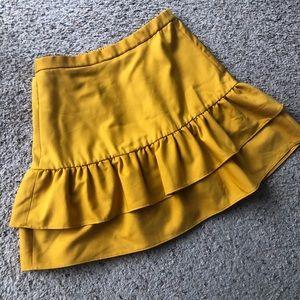 J.Crew gold ruffle skirt, size 4